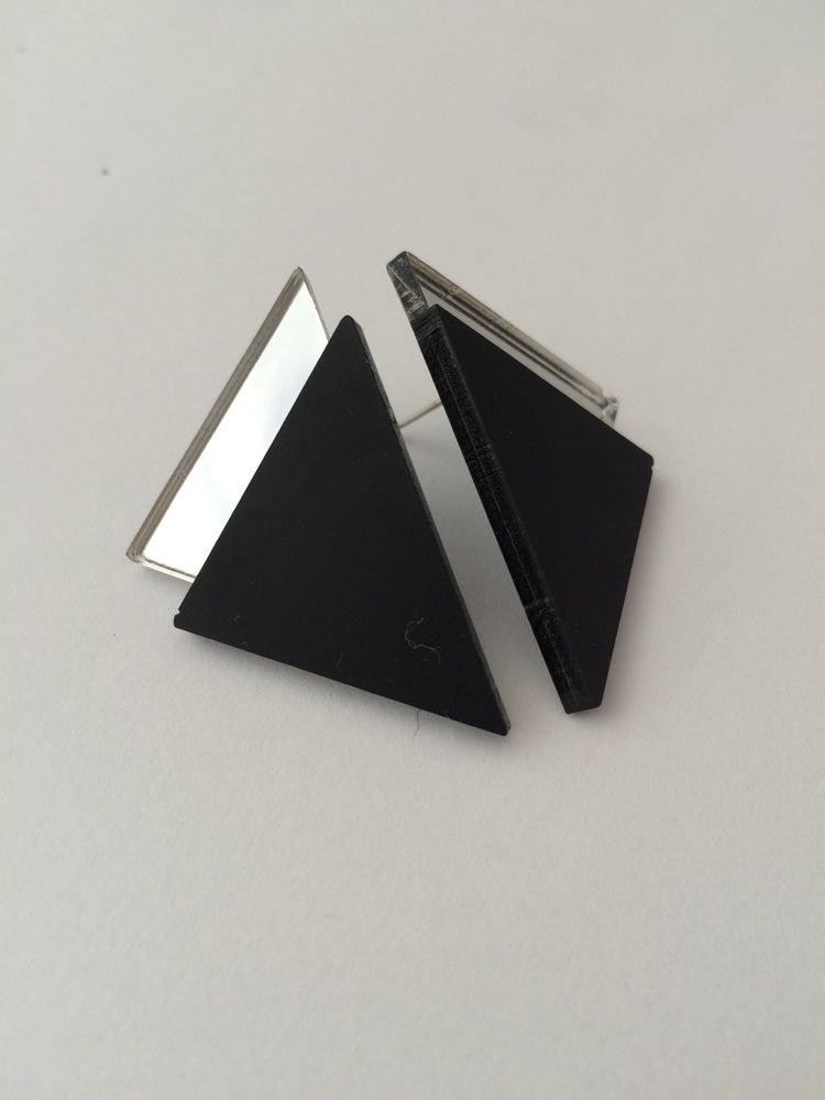 Image of Náušnice / Earrings Tria Black n mirror
