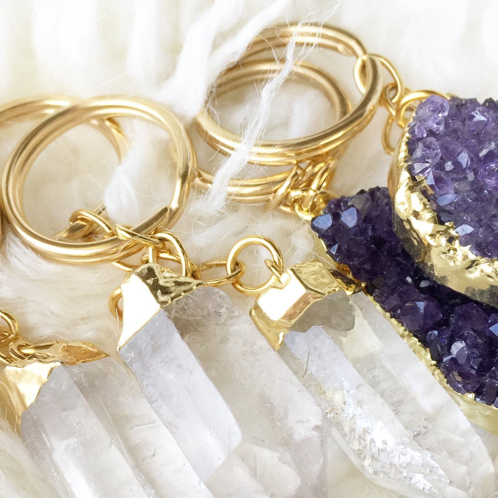 Image of GOLD PLATED CRYSTAL KEYCHAIN