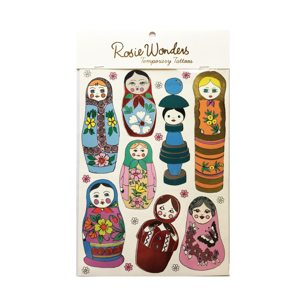 Image of Russian Doll Tattoos with Red Foil