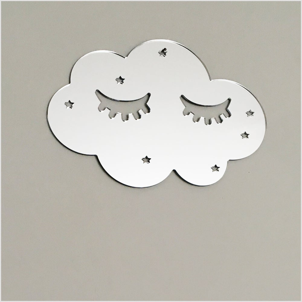 Image of Silver Acrylic Sleepy Cloud Mirror