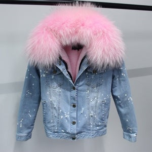 Image of So Kate Denim Fur Jacket