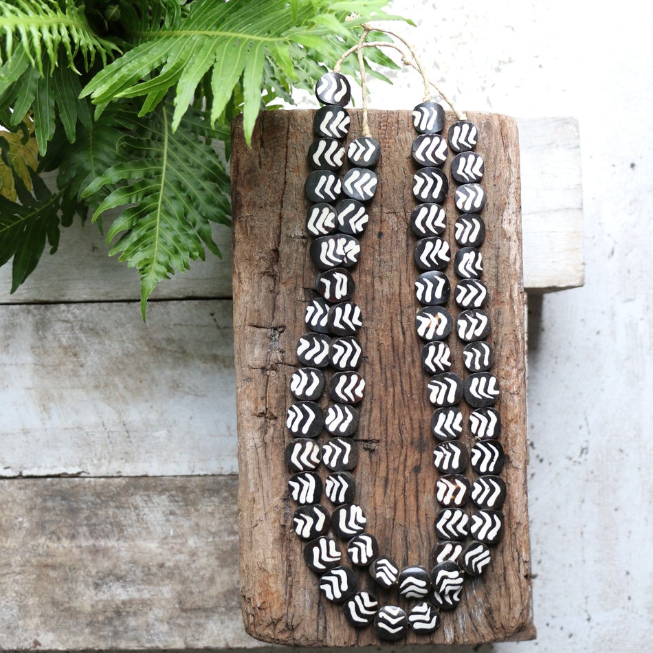 Image of Ebony Wood And Bone Bead Necklace