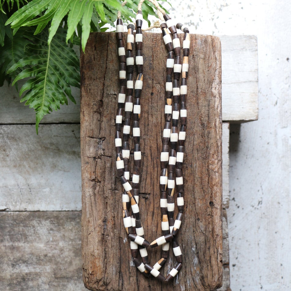 Image of Tapered Bone And Wood Bead Necklace