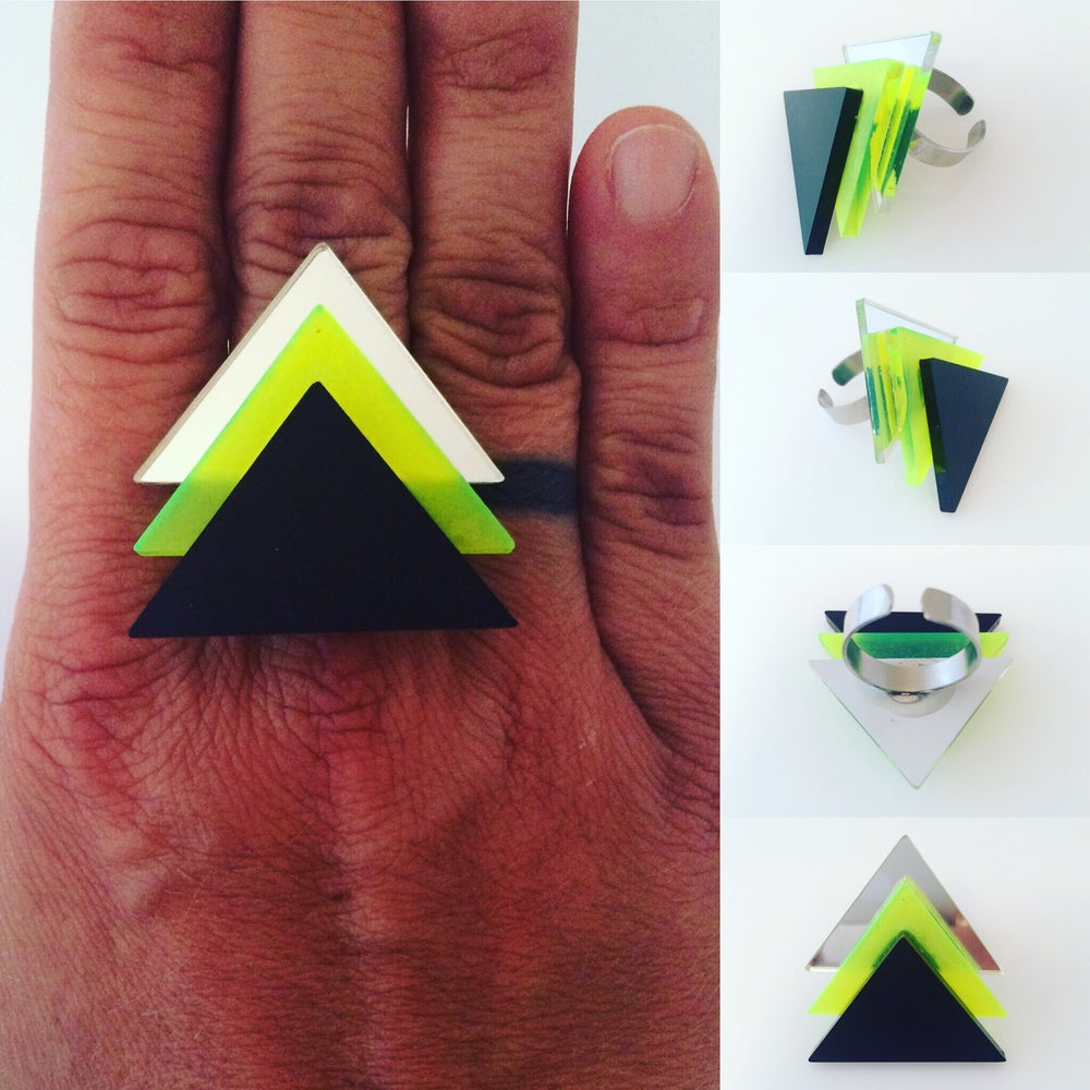 Image of Prsten / Ring Tri - Mirror-fluorescent green - black