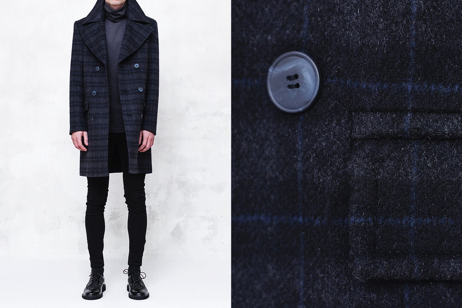 Image of BJORNE | Charcoal Check Wool-Blend Overcoat