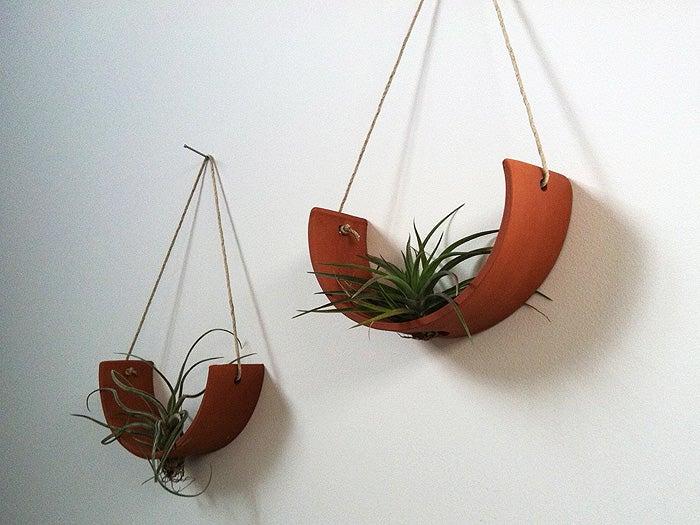 Image of Hanging Ceramic Air Plant Cradle Terracotta
