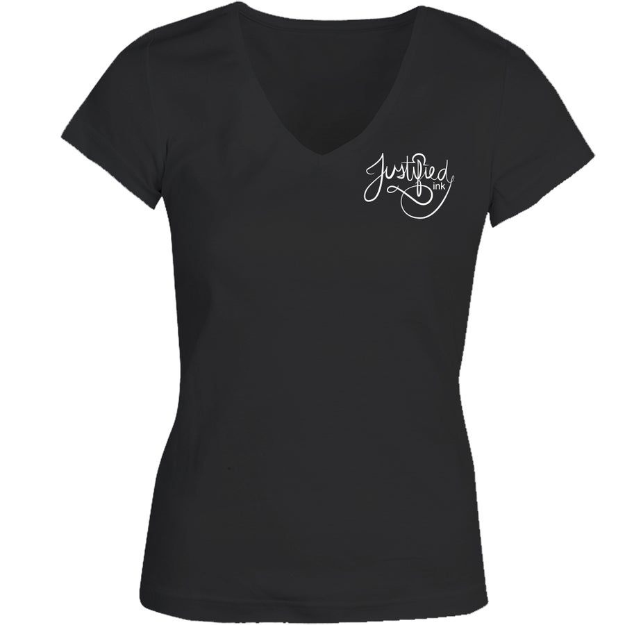 Image of Cursive Justified - Womens V-neck - Blackpanther