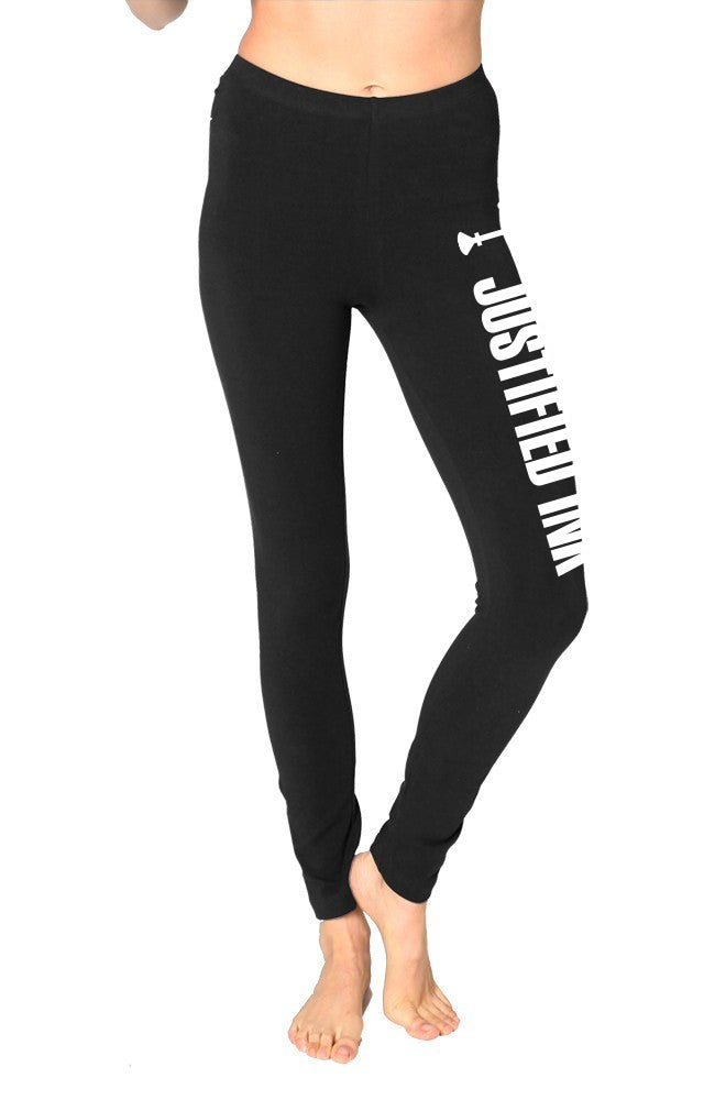 Image of JUSTIFIED Block Logo - Spandex Jersey Leggings - Blackpanther