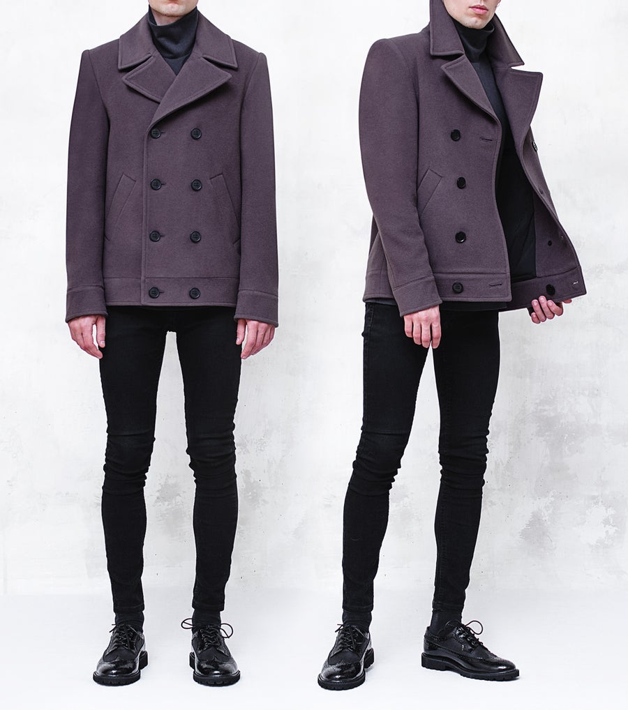 Image of LORCAN | Lavender Gray Wool-Cashmere Pea Coat