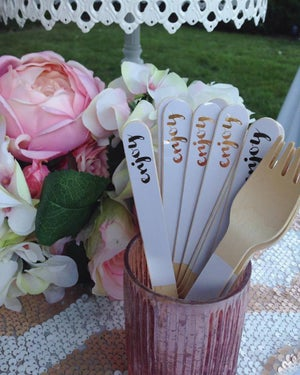 Image of {Enjoy} Gold Foil WoodenForks