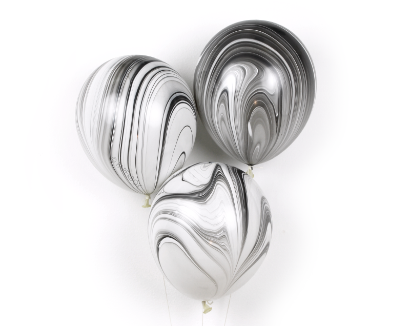 Image of Marble Agate Balloons - Black & White