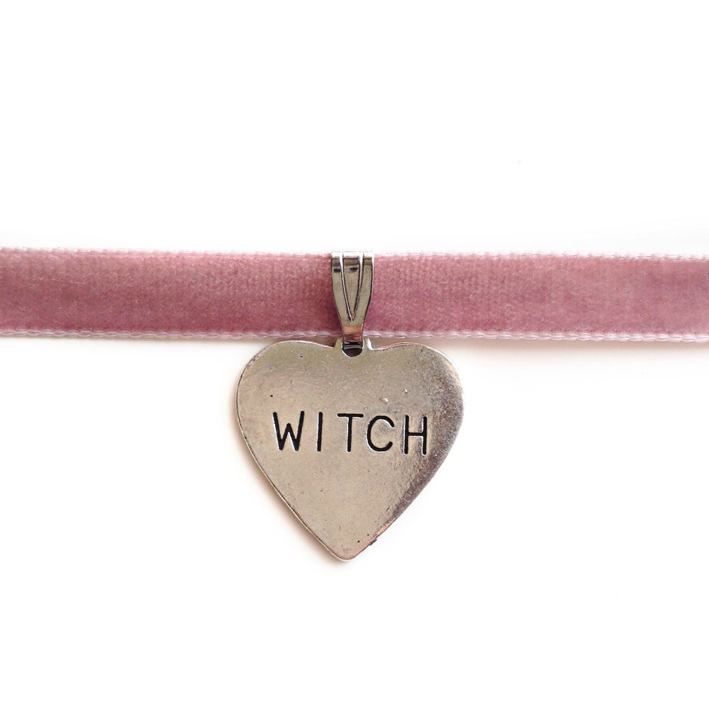 Image of 'Witch' Pink Velvet Choker