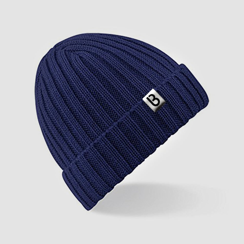 Image of Bedrock Ribbed Beanie in Navy