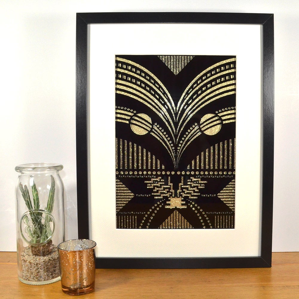 Contemporary Art Deco black/gold contemporary art deco inspired laser-cut (design 4