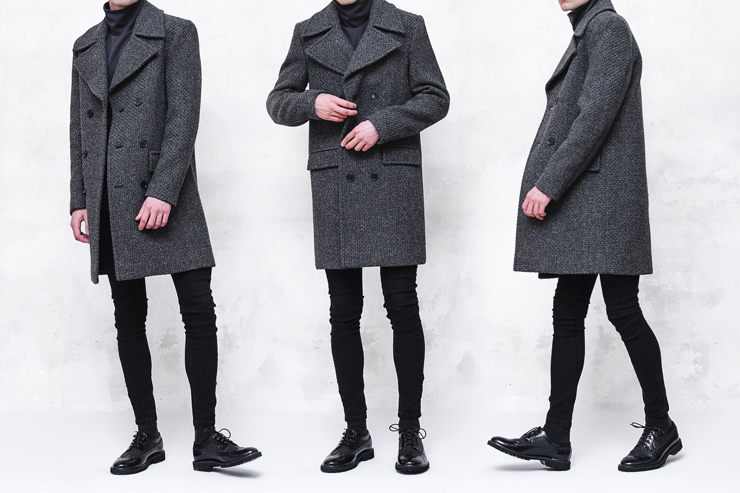 Image of BJORNE | Dark Gray Textured Boiled Wool Overcoat