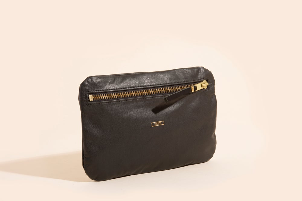 Image of Leather Zip Pouch - Black - Fantasy
