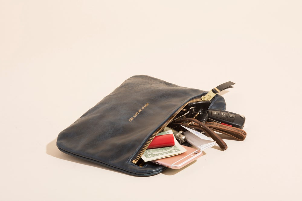 Image of Leather Zip Pouch - Navy - Birth of the Super Cult