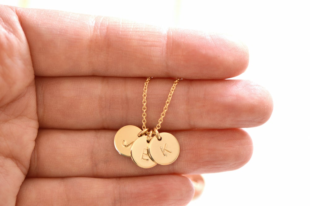 Image of Personalize Mini Disc Necklace - Mother's Necklace - Family Necklace