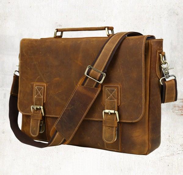 """Image of Men's Handmade Vintage Leather Briefcase / Messenger / 17"""" MacBook Pro 16"""" Laptop Bag (n14L-2)"""