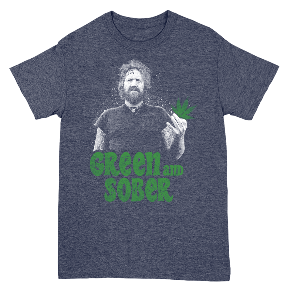Image of GREEN & SOBER - BRENT HINDS TRIBUTE T-SHIRT - BLUE HEATHER GRAY