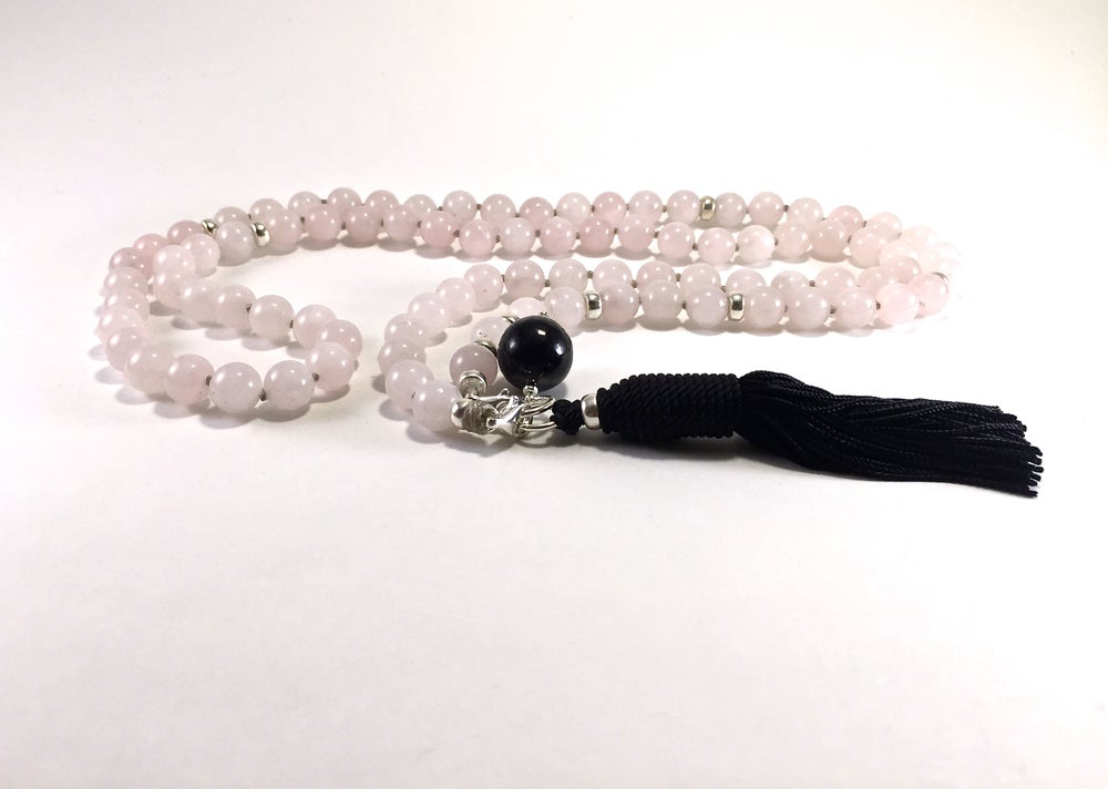 Image of New! Shungite Collar Double Infinity Rose Quartz Mala 88