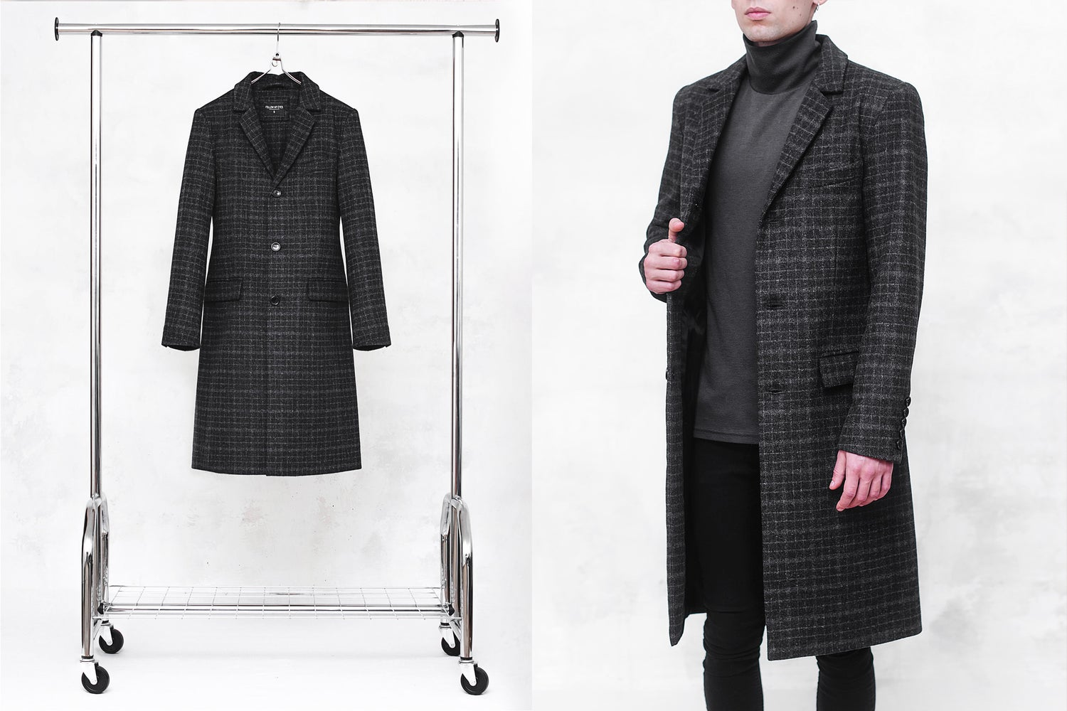 Image of LIMITED EDITION | Charcoal Check Wool-Blend Coat