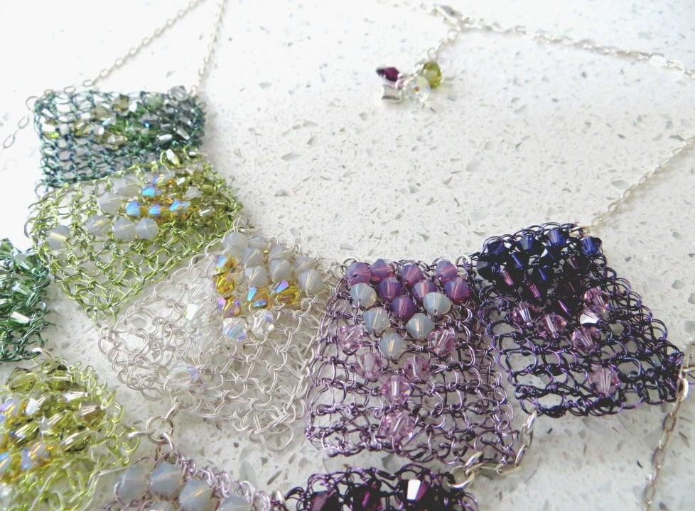 Image of 'Purple Moss Waterfall' hand knitted wire necklace