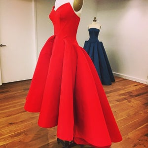 Image of Charming Red Satin High Low Prom Dress, Black Sweetheart Tea Length Formal Dress