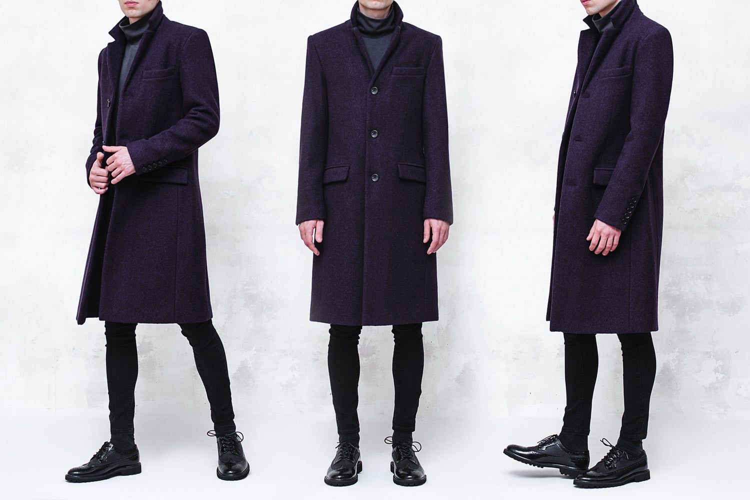 Image of LIMITED EDITION | Dark Purple Boiled Wool Coat