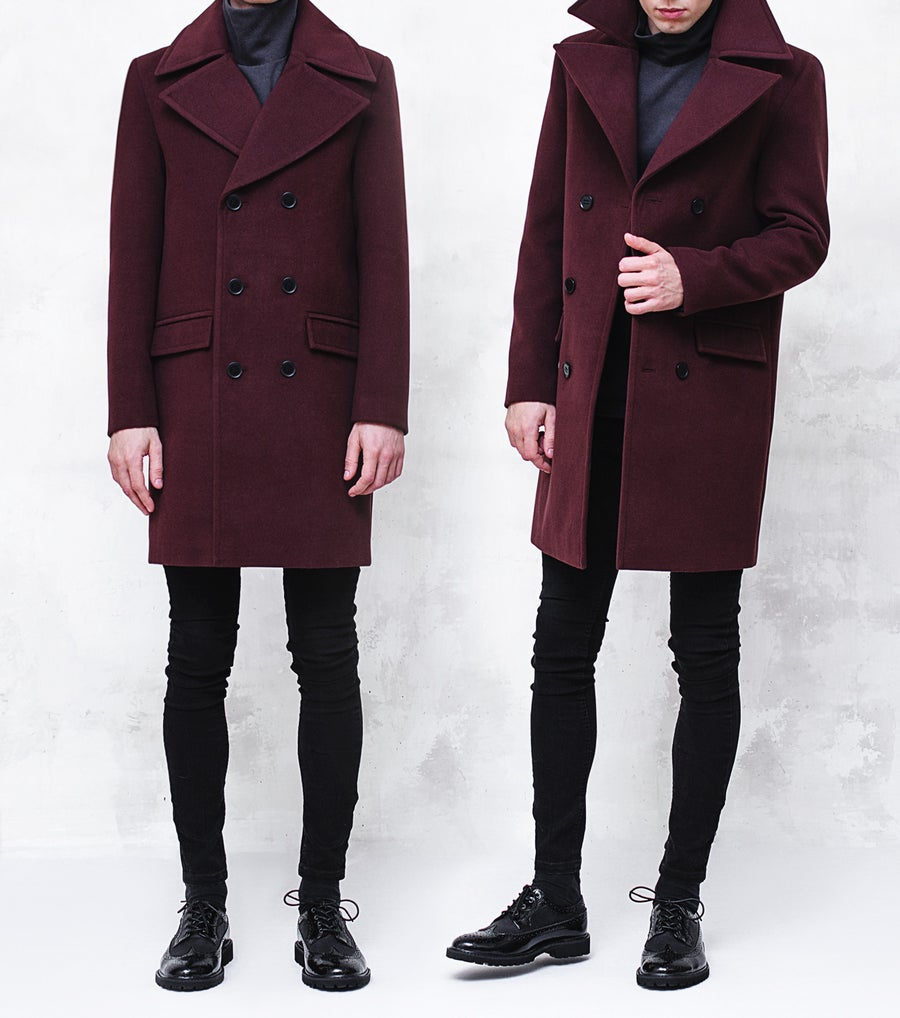 Image of BJORNE | Burgundy Wool-Blend Overcoat