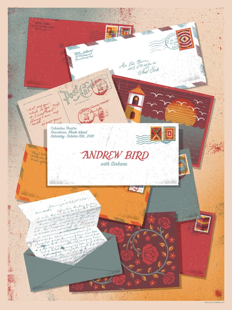 Image of Andrew Bird Concert Poster - Letters