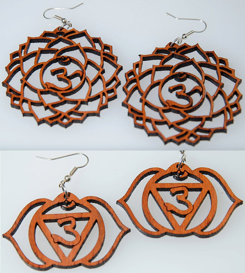 Image of Set of 7 Chakra Wooden Earrings