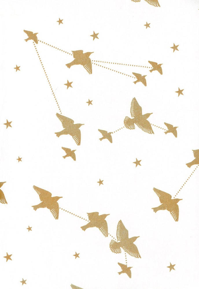 Image of Star-ling Wallpaper - Snow & Gold
