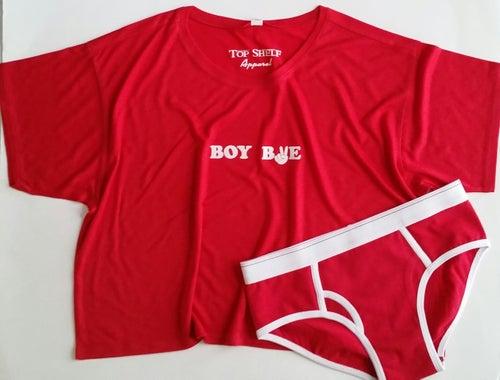 Image of BOY BYE - flowy crop & boy briefs pj set