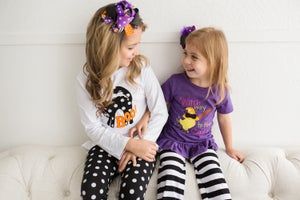 Image of Witch Way to the Candy Halloween outfit, baby, toddler, girls, witch, purple, holiday, sister sets