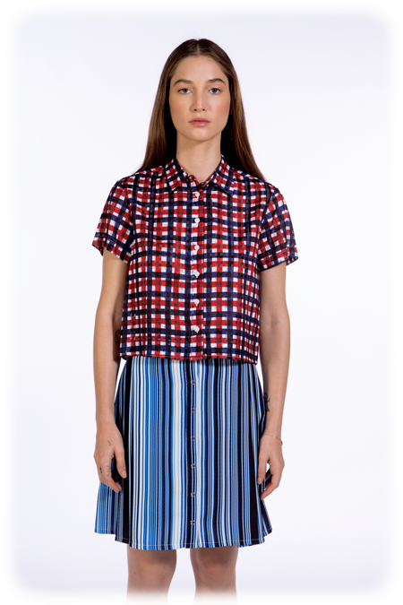 Image of 50% OFF - Cropped Short Sleeve Shirt - Sheer Grid