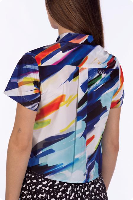 Image of 50% OFF - Cropped Short Sleeve Shirt - Mixed Media