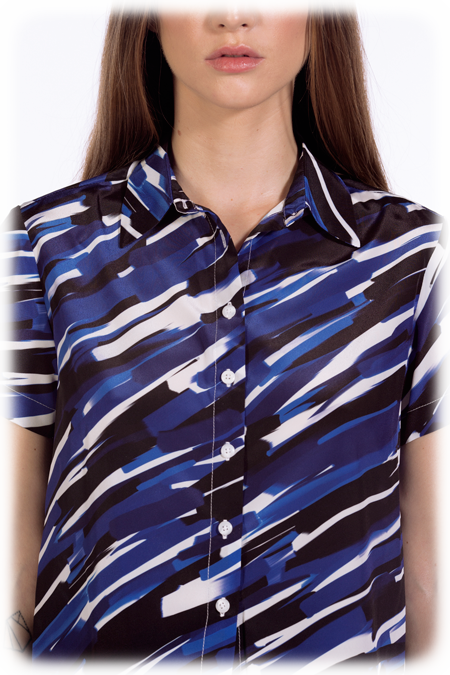 Image of 50% OFF - Cropped Short Sleeve Shirt - Blue Strokes