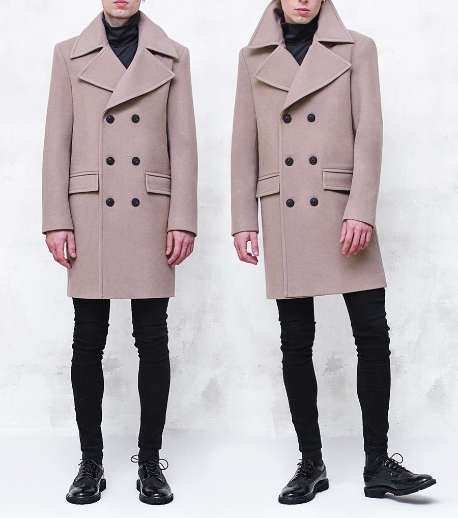 Image of BJORNE | Beige Wool-Blend Overcoat