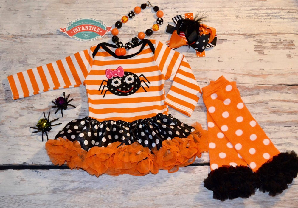 Image of Halloween Spider Tu Tu Onesie, infant, baby, toddler, spooky, costume, photos