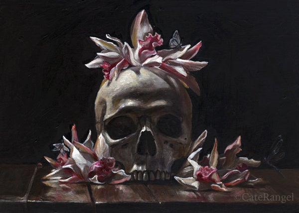 Image of Skull with Cymbidium Orchids - Framed Original Painting