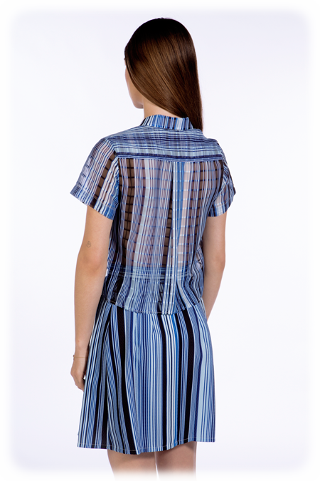 Image of 50% OFF - Cropped Short Sleeve Shirt With Pockets - Cobalt Stripe