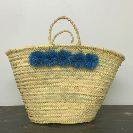 Image of topanga basket - denim pom poms