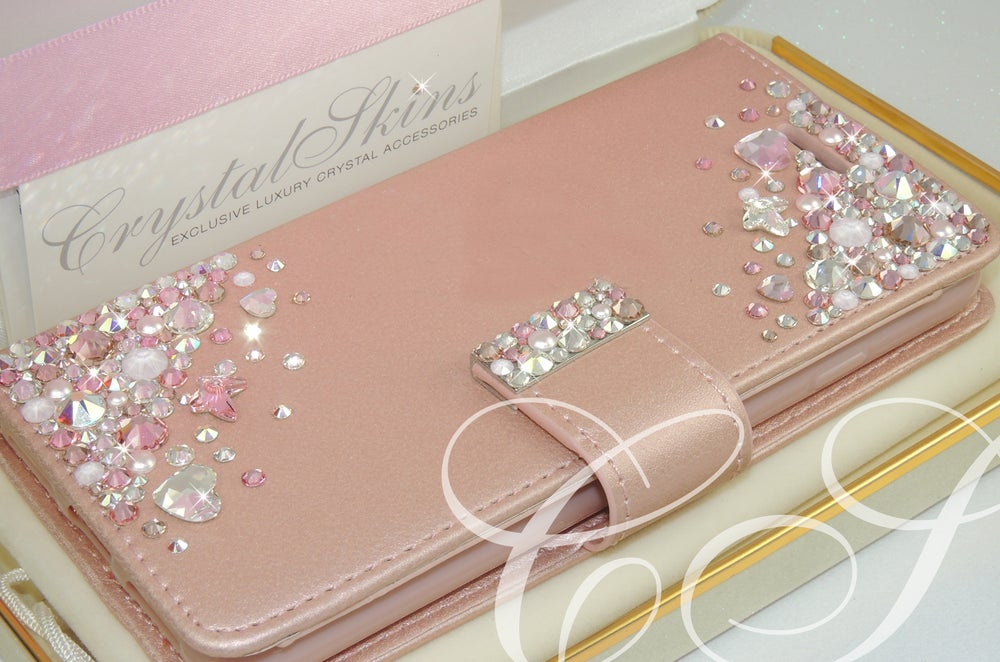 Image of 'CASCADE' Rose Gold Wallet Case for iPhone & Samsung. With crystals by Swarovski®.