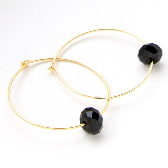 Image of Hoops Elaborated With Swarovski Crystals In Jet Black