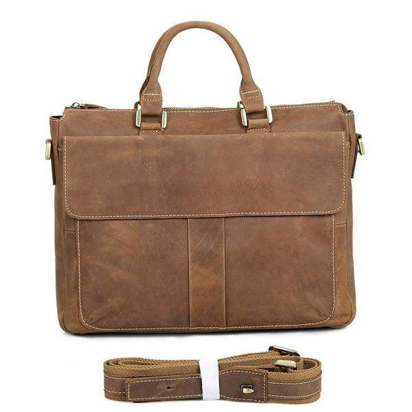 """Image of Vintage Handmade Crazy Horse Leather Briefcase Messenger 14"""" 15"""" Laptop / 13"""" 15"""" MacBook Bag (n79)"""