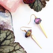 Image of Galaxy Spear Earrings - with rainbow Aura Amethyst