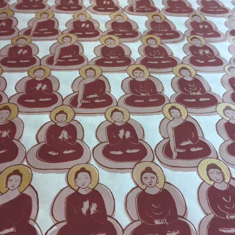 Image of Tan, Gold and Maroon Buddha Prints