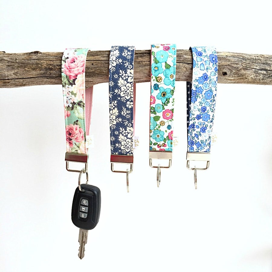 Image of Floral fabric Key Fob