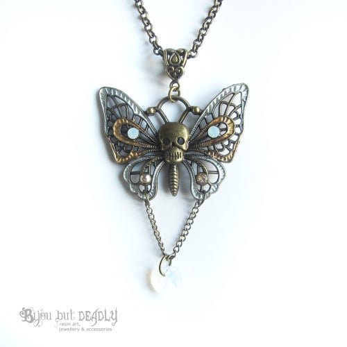 Image of Swarovski Skull Butterfly Necklace Bronze